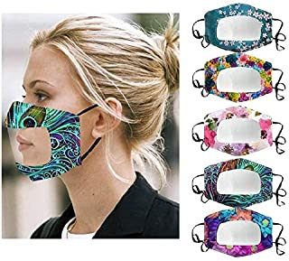 5Pcs Breathable Face Bandanas Reusable Washable with Clear Window Visible Expression Lip Reading, Indoors and Outdoors, for Adults, Also for Deaf and Hard Of Hearing