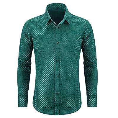 WULFUL Men's Casual Long Sleeve Dress Shirt Print Cotton Business Button Down Shirts Regular Fit