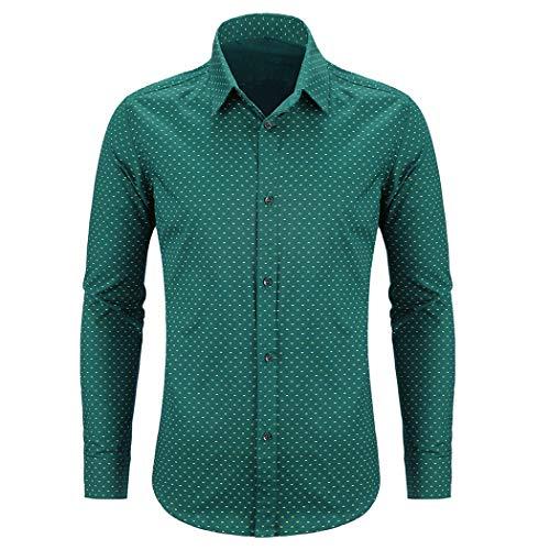 WULFUL Men's Casual Long Sleeve Dress Shirt Print Cotton Business Button Down Shirts Regular Fit Green