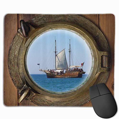 Alfombrilla de ratón para Juegos, rústico, Barco Pirata, Ojo de Buey, Marinero, rectángulo, Antideslizante, Accesorios de Oficina, decoración de Escritorio, 18x22 cm