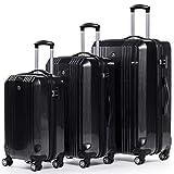 FERGÉ Kofferset Hartschale 3-teilig Cannes Trolley-Set - Handgepäck 55 cm, L und XL 3er Set Hartschalenkoffer Roll-Koffer 4 Rollen 100% ABS & PC Silber