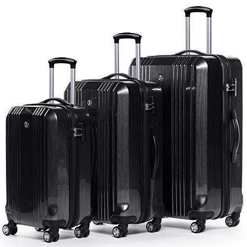 FERGÉ Kofferset Hartschale 3-teilig Cannes Trolley-Set - Handgepäck 55 cm, L und XL 3er Set Hartschalenkoffer Roll-Koffer 4 Rollen 100{4f3b7c11c697742b4c66ec55cb586166ebb66c7e9338abcaf5cf639462a79444} ABS & PC Silber