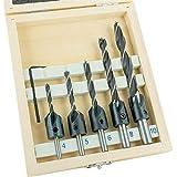ENT 26514 6-tlg. Bohrer-Senker-Satz - 5 zylindrische Spiralbohrer Ø 4-10 mm mit Aufsteckversenker - aus Werkzeugstahl WS