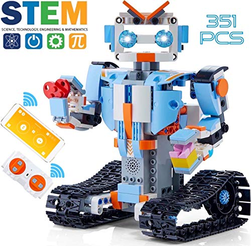 GOOMY Build a Robot Remote Control Blocks Kit Intelligent RC Toy APP STEM Bricks Electric Educational Engineering Best 6,7,8-12+ Boys and Girls Kids Gift 351 Pieces Set