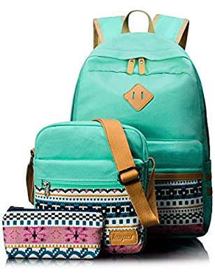 Leaper Canvas Laptop Bag School Backpack Shoulder Bag Purse Pen case Water Blue