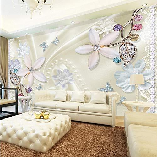 Gwgdjk 3D Magnifique Bijoux Fleur Stéréo Relief Murale Vivre Canapé HôtelP Mur De Luxe Mur Papiers Papier Peint-200X140Cm (80 * 56Inch)