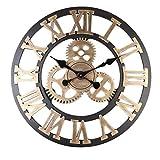 IMIKEYA Reloj de Engranaje de 30 cm Reloj de Pared de Estilo Europeo Reloj Redondo Mudo números Romanos Reloj silencioso Reloj Colgante para Sala de Estar (Dorado sin batería)
