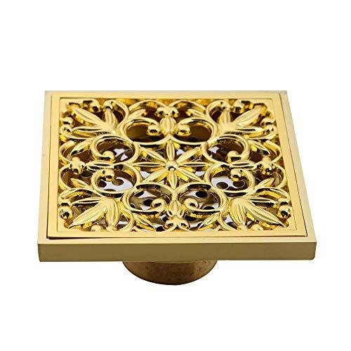 DYR Gold Square Boden Abfallgitter Badezimmer Duschablauf 10cm Bodenablauf Antike Duschfilterablauf Haar Unsichtbar
