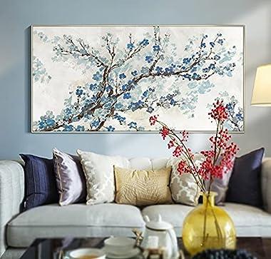 "Modern Framed Blue Cherry Blossom Canvas Wall Art For Living Room Large Flower Oil Painting For Bedroom 20"" x 40"""