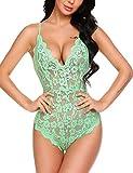 Avidlove Women's Lingerie Bodysuit Sexy Lace Teddy One Piece Sleepwear(Green,S)