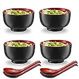 wsetrtg Juego de 8 Cuencos y cucharas de Color Rojo y Negro con Cuchara a Juego para Sopa de Fideos Ramen