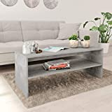 """Modern Coffee Table Concrete Gray for Living Room, Vevelux Vintage Style Furniture 39.4""""x15.7""""x15.7"""""""