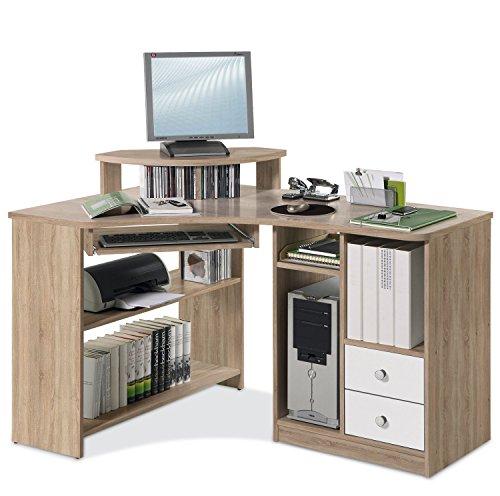 Eckschreibtisch Schreibtisch Computertisch Arbeitstisch | Eiche Sonoma | Weiß