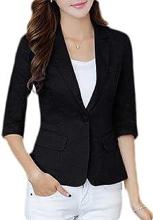 Yeirui Women Cotton Casual Sleeve 3/4 Linen Solid Work Office Blazer Jacket Suit Coat