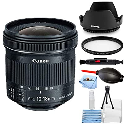 Canon EF-S 10-18mm f/4.5-5.6 is STM Lens Bundle Essential Includes: Tulip Hood Lens, UV Filter, Cleaning Pen, Blower, Microfiber Cloth and Cleaning Kit by Pixel Hub