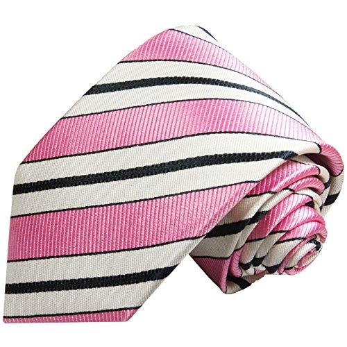 Rose noire et blanc cravate rayée, 100% cravate en soie