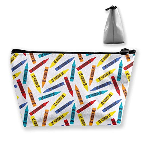 Trapezoid Makeup Pouch Storage Holder Crayon White Womens Travel Case Cosmetic Makeup Pouch