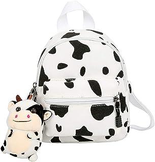 Mochila de dibujos animados, linda vaca animal, de tela, con llavero, diseño de vaca pequeña, bolso de hombro para mujer, niña, niño