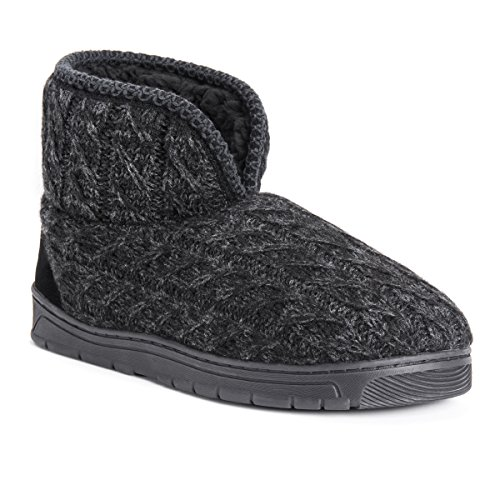 MUK LUKS Men's Mark Slipper, Ebony/Grey, Large (12-13) M US