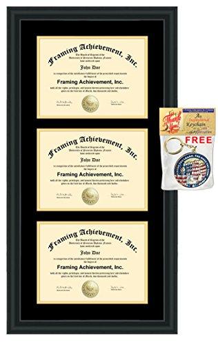 Triple Diploma Frame Double Matted College Certificate Frame Satin Rich Black Top mat Black Inner mat Gold University Degree Framing License Holder Case