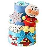 オムツケーキ 出産祝い セガトイズ アンパンマン 名入れ刺繍 2段 おむつケーキ ぬいぐるみ ご出産祝い 男の子向け(ブルー系) goonテープタイプMサイズ