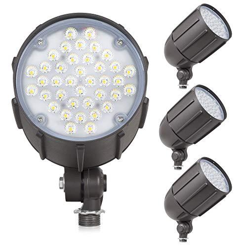40-Watt LED Bullet Flood Light for 120 Volt Outdoor Landscape Lighting, 4800 lm, Bronze, 200W MH Equal, Flagpole Light, 57° Flood Beam, Monument Sign Lighting, Warm White (3000K, 4-Pack)