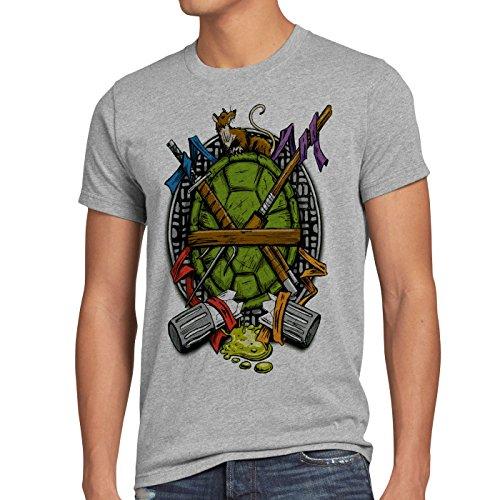 style3 Hero Turtle T-Shirt Herren Turtles Teenage schildkröte Comic Mutant, Größe:XL, Farbe:Grau meliert