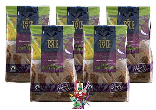 yoaxia ® - 5er Pack - [ 5x 500g ] TATE+LYLE dunkelbrauner feiner Rohrzucker / Zucker / DARK SOFT BROWN + ein kleines Glückspüppchen - Holzpüppchen