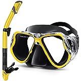 Gintenco Masque de Plongée avec Tuba, Set de Plongée Anti-Buée et Anti-Fuite, Masque Snorkeling Réglable, Tuba Masque Vue Panoramique HD pour Adulte