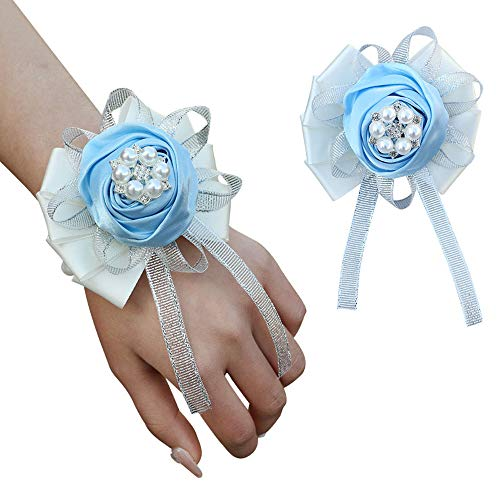 Wrist Flower, Wrist Corsage Hand Flowers Decor for Wedding Bridal Prom Party Accessories (Light Blue)