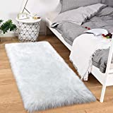 Noahas Luxury Fluffy Rugs Bedroom Furry Carpet Bedside Faux Fur Sheepskin Area Rugs Children Play Princess Room Decor Rug, 2ft x 6ft White