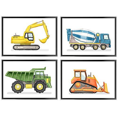 Frechdax® Kinder Poster Kinderzimmer Deko Posterset Junge Fahrzeuge DIN A4 | (» Baustelle, Bagger, Kipplaster «)
