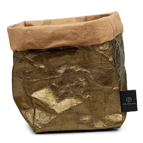 stil-macher Designer Krempelkorb - Gr. M - | Aufbewahrungskorb aus waschbarem Papier | Lederoptik | VEGAN | Deko-Box | Geschenkbox | Übertopf (Kupfer, Eckig)