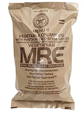 MRE (Meals Ready-to-Eat) Select Your Meal, Genuine US Military Surplus Meals (MRE Vegetable Crumbles with Pasta in Taco Sauce)