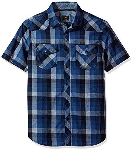 Camiseta de algodón de manga corta con botones de manga corta para hombre, talla grande y alta, de Lee -  Azul -  Medium