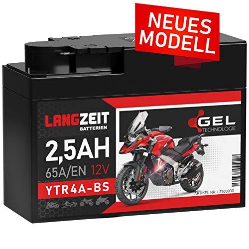 LANGZEIT YTR4A-BS GEL Roller Batterie 12V 2,5Ah 65A/EN GEL Batterie 12V Motorradbatterie doppelte Lebensdauer entspricht ITX4A-BS YTX4A-BS vorgeladen auslaufsicher wartungsfrei ersetzt 2,3Ah