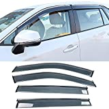 IKON MOTORSPORTS, Tape on Window Visor Come with Chrome Trim Compatible With 2019-2020 Toyota RAV4, Polycarbonate Dark Smoke 4PCS Sun Rain Shade Guard Wind Vent Air Deflector
