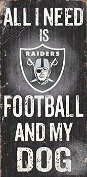 Oakland Raiders Wood Sign - Football and Dog 6 x12