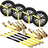 """fomobest Car Tie Down Straps Heavy Duty 10,000 lbs for Trailers 4 Pack Wheel Tow Ratchet with Snap Hooks, 2""""x 12ft Tire Straps with Axle Straps for Car Hauler Vehicle Trucks - Fits for All Sizes Tires"""
