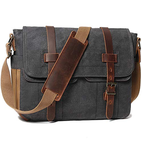 Messenger Bag for Men 15.6 Inch Rugged Waxed Canvas Laptop Bag Waterproof Genuine Leather Briefcase Satchel Bags for Men Large Computer Work Bag, Grey