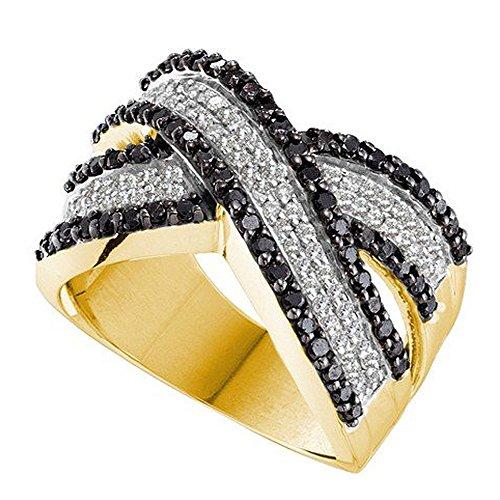 DazzlingRock Collection - Bañador para mujer (oro amarillo de 14 quilates, 1,25 quilates, diamantes blancos y negros, 1 1/4 quilates)