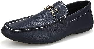 ZiWen Lu Driving Loafer for Men Boat Moccasins Slip On Style PU Leather Metaldecor Solid Color Flexible (Color : Blue, Size : 8 UK)