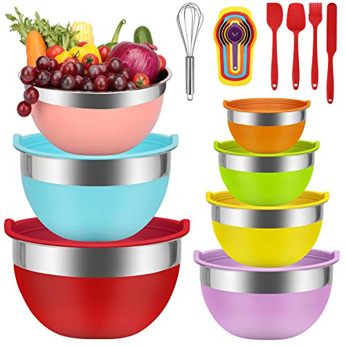 Mixing Bowls - Babyltrl Mixing Bowls Set, 18pcs Kitchen Tools Stainless Steel Nesting Mixing Bowls with Lids, Size 7, 6, 5, 4, 3, 2, 1.5 QT, 7 Colors Kitchen Bowls for Mixing, Serving & Prepping