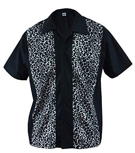 Herren Bowling Shirt Hemd Leo Fake Fur Kunstfell Rockabilly Leopard, Schwarz (M/Medium)