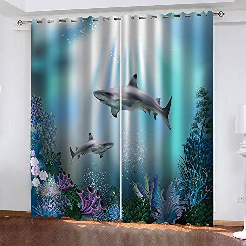MXYHDZ Cortinas Opacas de Salon - Tiburón Animal Marino Impresión 3D, Dormitorio Aislantes Termicas con Ollaos - 150 x 166 cm para Oficina y salón, Dormitorio habitación de los niños, 2 Piezas