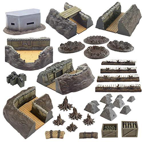 War World Gaming World at War - Sistema de Trincheras Completo - 28mm, WW1, Wargames, Miniaturas, Escenografía, Gran Guerra, Contienda Militar