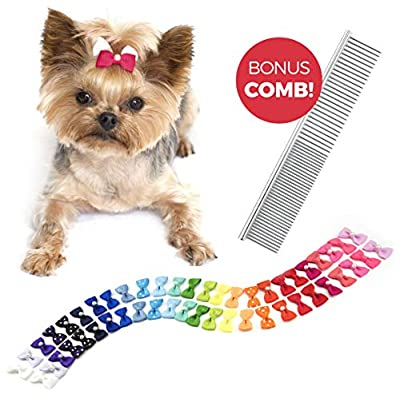 The Thoughtful Brand 50 Pcs Dog Bows with Rubber Bands (25 Pairs) - Strong Hold Hair Bows for Dogs - Pet Bows for Small Dogs Hair Accessories and Bonus Grooming Comb (Assorted Colors)