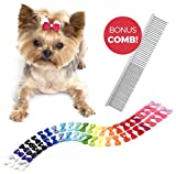 The Thoughtful Brand 50 Pcs Dog Bows with Rubber Bands (25 Pairs) -...