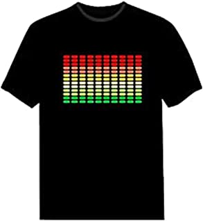 Pawant Adult Couples Audio Control LED Flashing Night Club Wear Cotton T-Shirt Dot Colors XL
