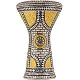 Darbuka Egipcia Gawharet El Fan - Tambor de Mano Derbake Árabe Doumbek de Aluminio con Cabeza Blanca de Malik Instruments - El Modelo Citrine Orchid